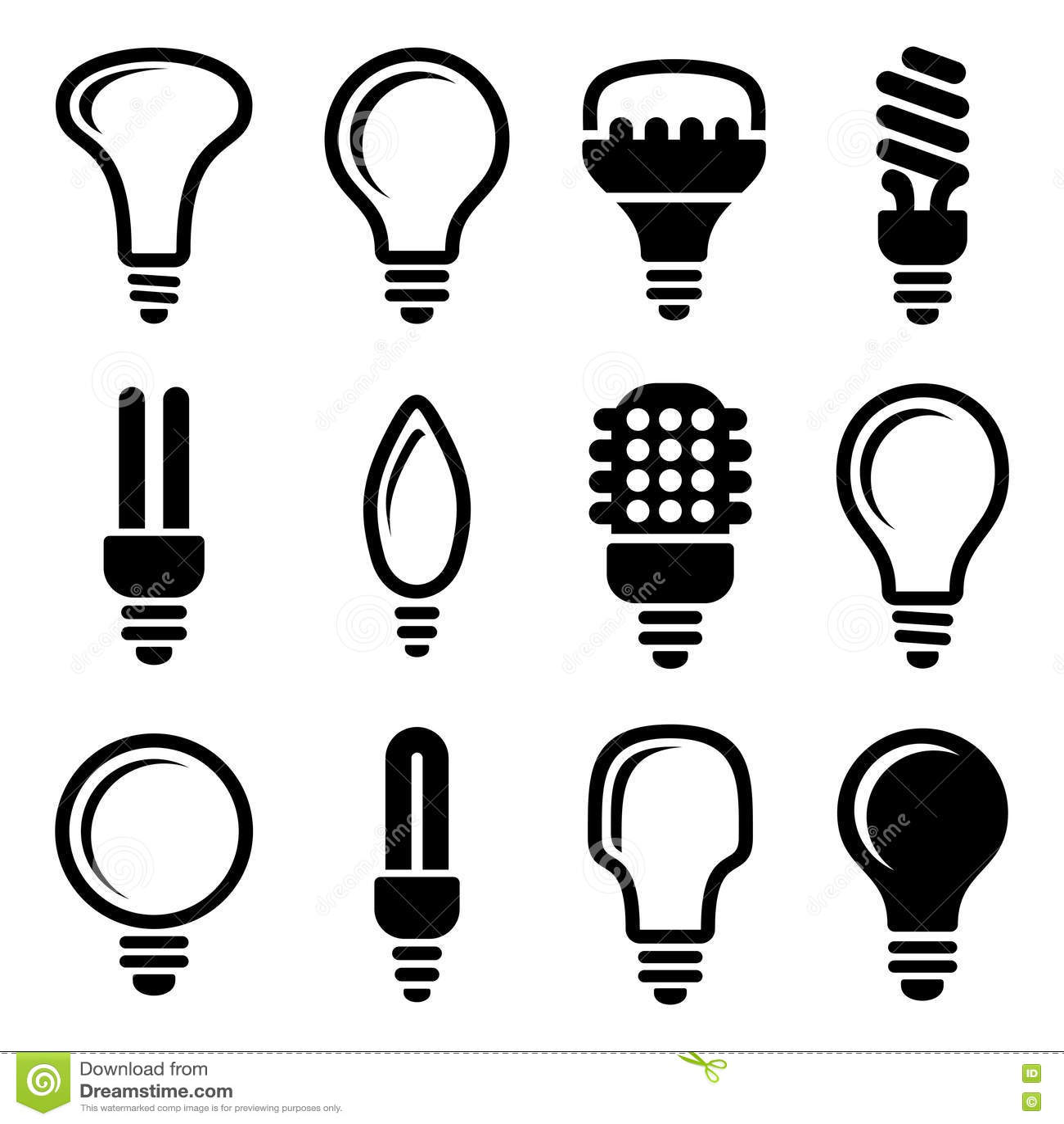 light bulbs  bulb icon set stock vector  image of