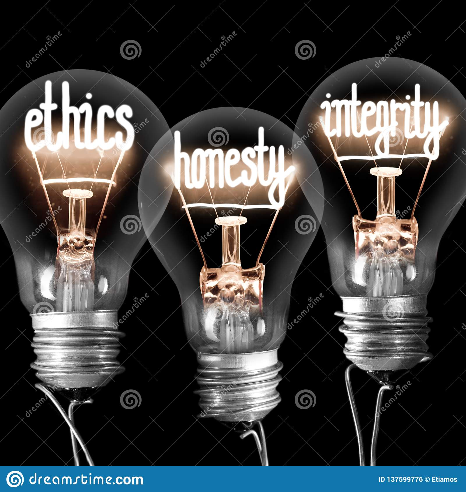 Light Bulbs with Ethics, Honesty and Integrity Concept