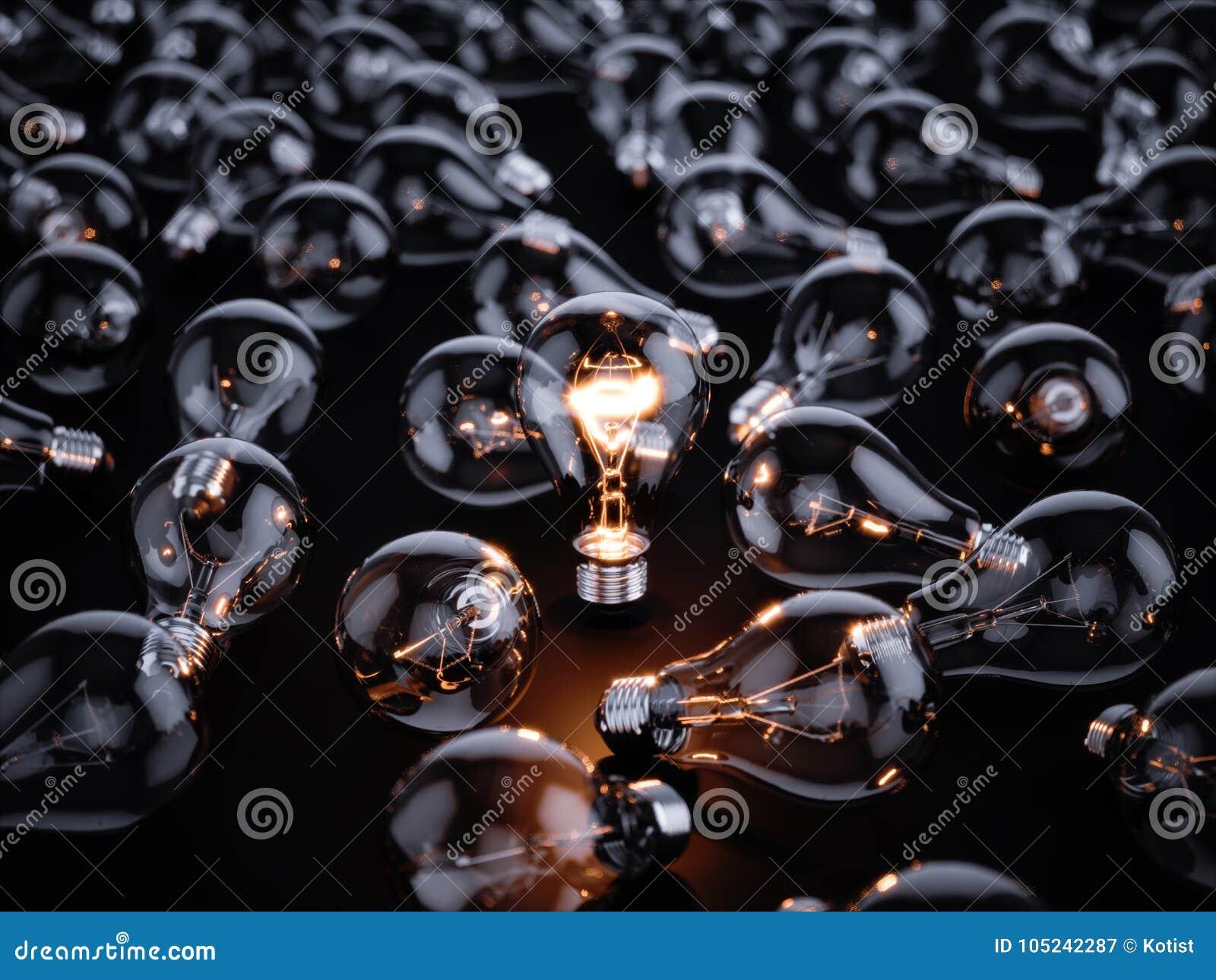 Light bulbs with glowing one