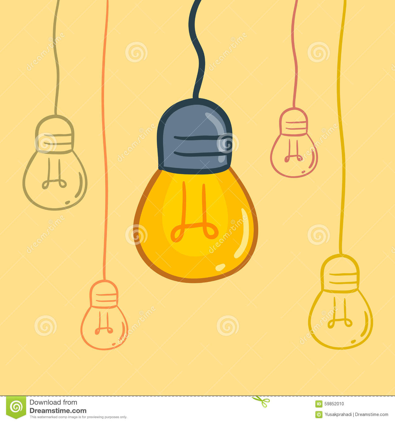 Hanging Lamp Vector: Light Bulbs Hanging From Above Stock Vector