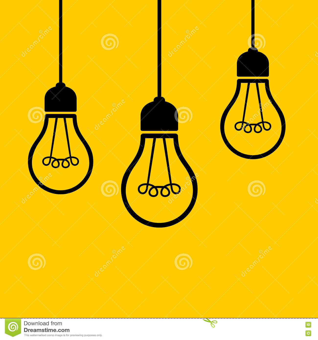 Hanging Lamp Vector: Light Bulbs Hanging From The Ceiling. Vector Stock Vector