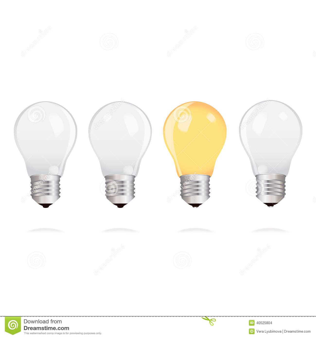 Light Bulbs With One Bright Light Bulb On White Background Stock Vector Image 40525804