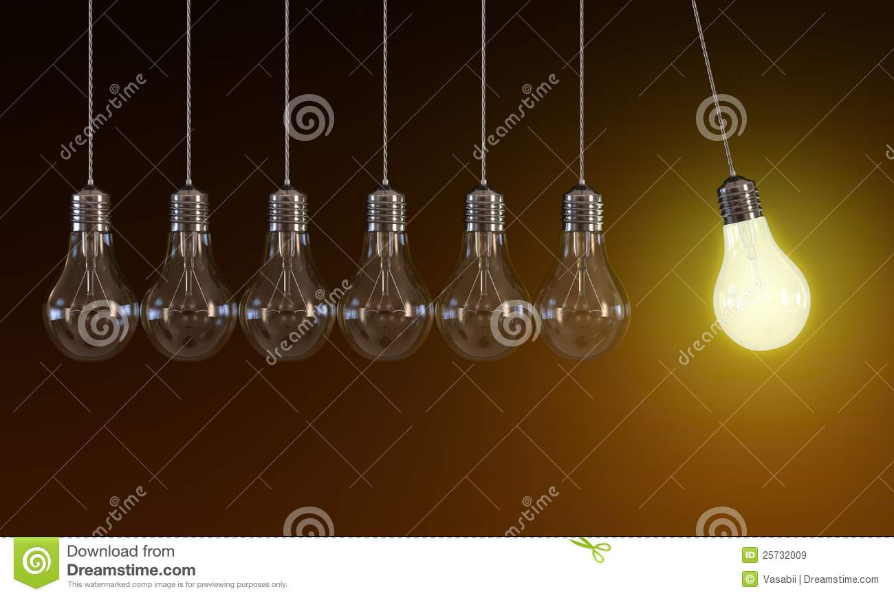 Light Bulbs In Perpetual Motion Royalty Free Stock Images