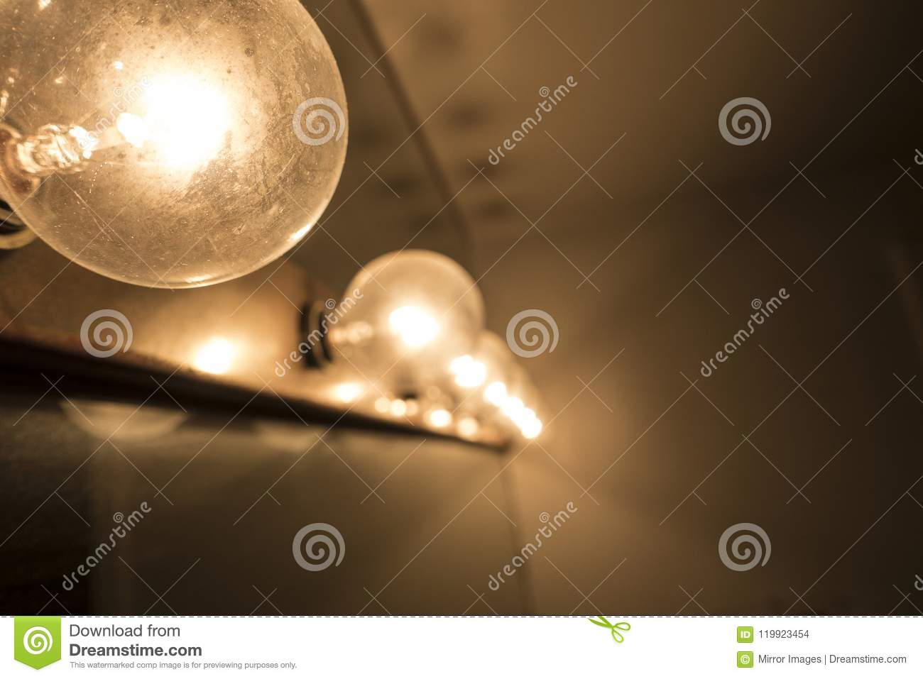 Row Of Vanity Mirror Lights Stock Photo Image Of Light