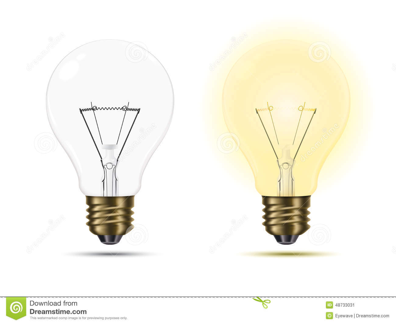 Light Bulbs Switched On And Off Stock Vector Illustration Of