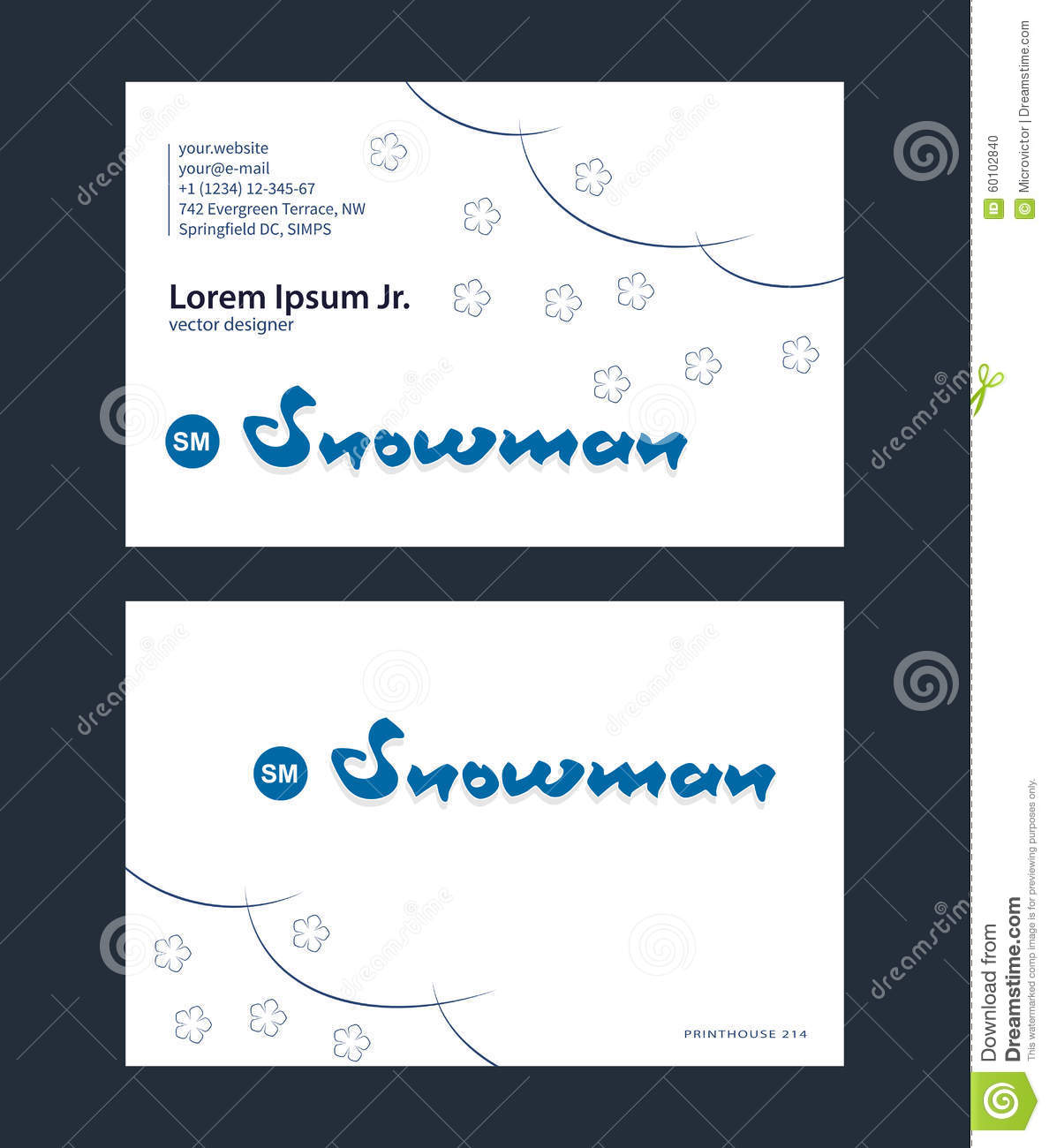 Light Business Card Template Stock Vector Image
