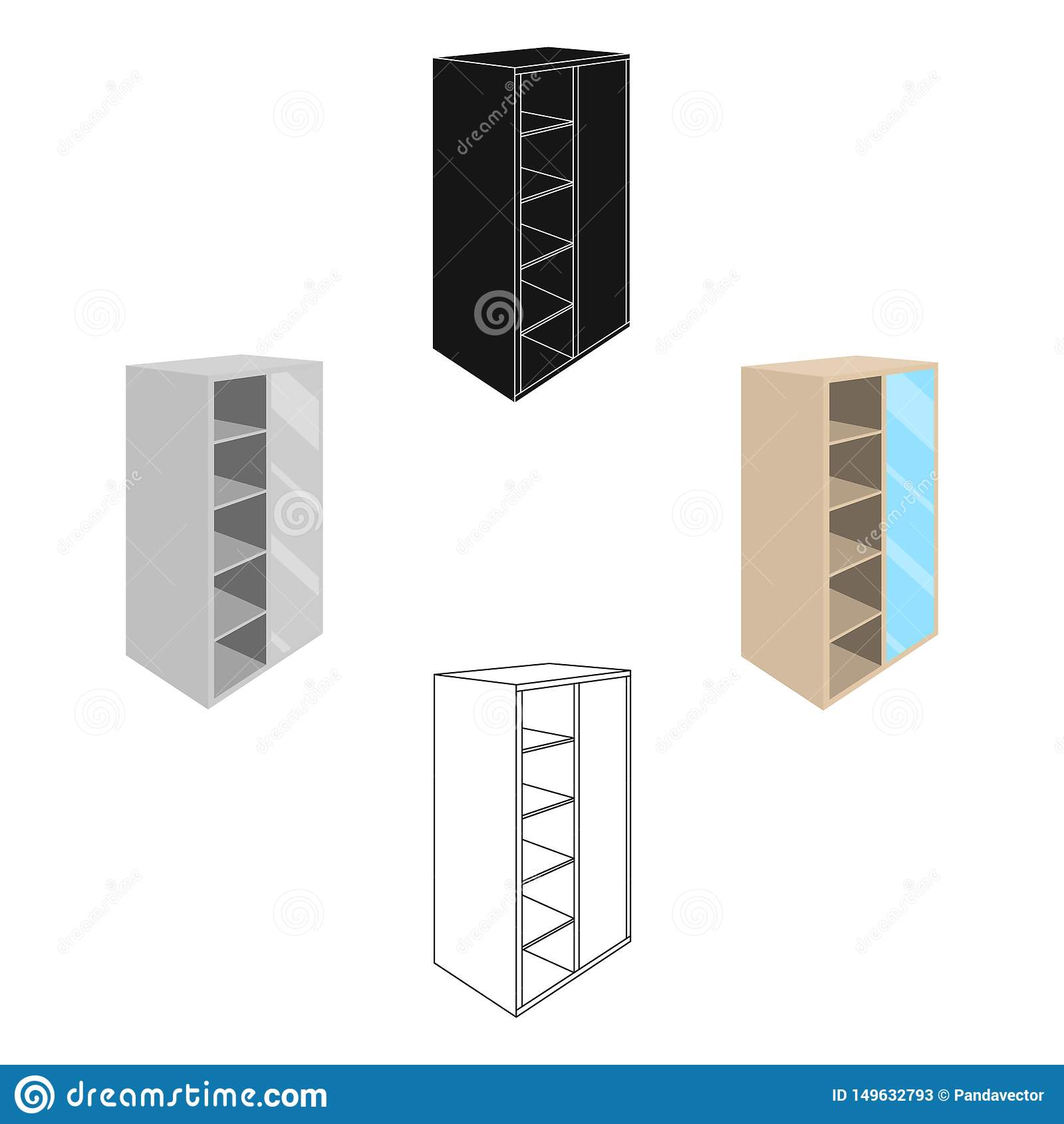 Picture of: Light Cabinet With Bins And Mirror Wardrobe For Women S Clothing Bedroom Furniture Single Icon In Cartoon Black Style Stock Vector Illustration Of Shelf Interior 149632793