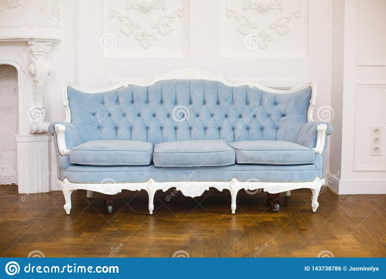 Excellent Light Classic Royal Interior With Blue Soft Sofa With Fabric Pdpeps Interior Chair Design Pdpepsorg