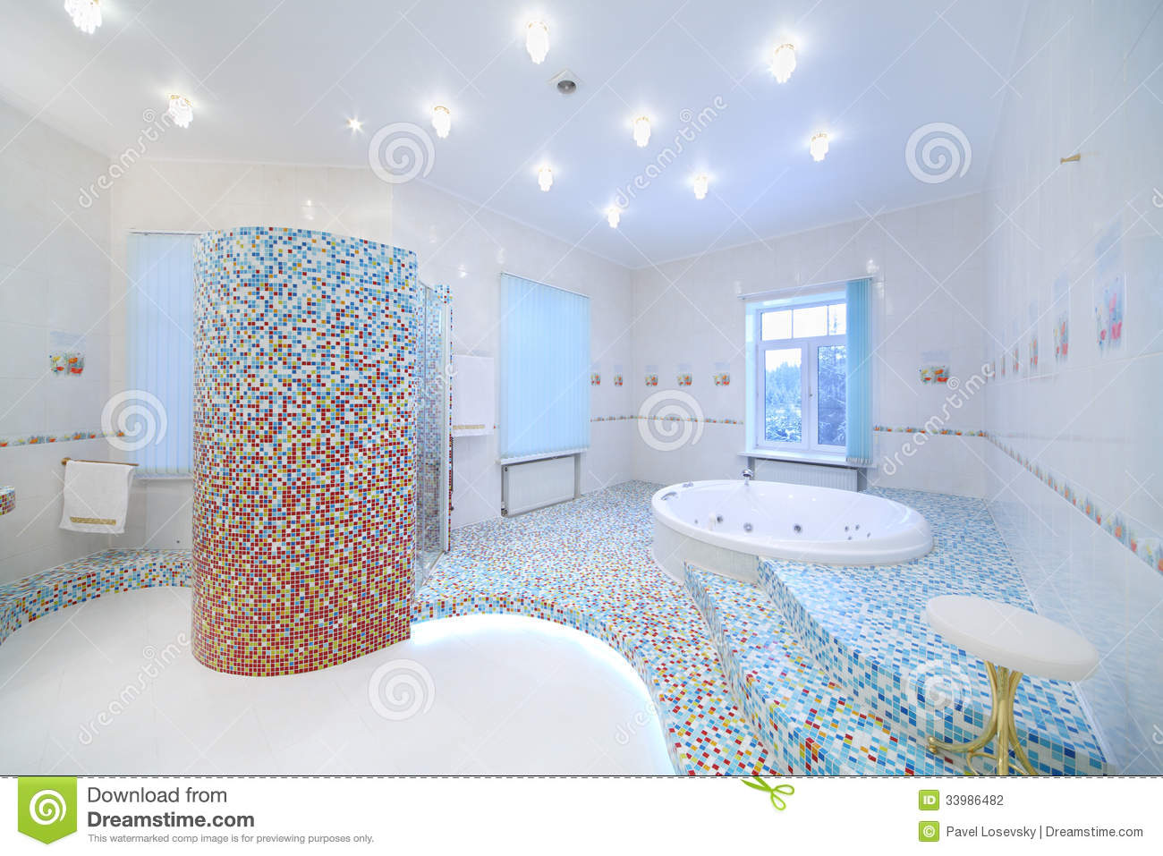 Light And Clean Bathroom With Jacuzzi And Shower Cabin