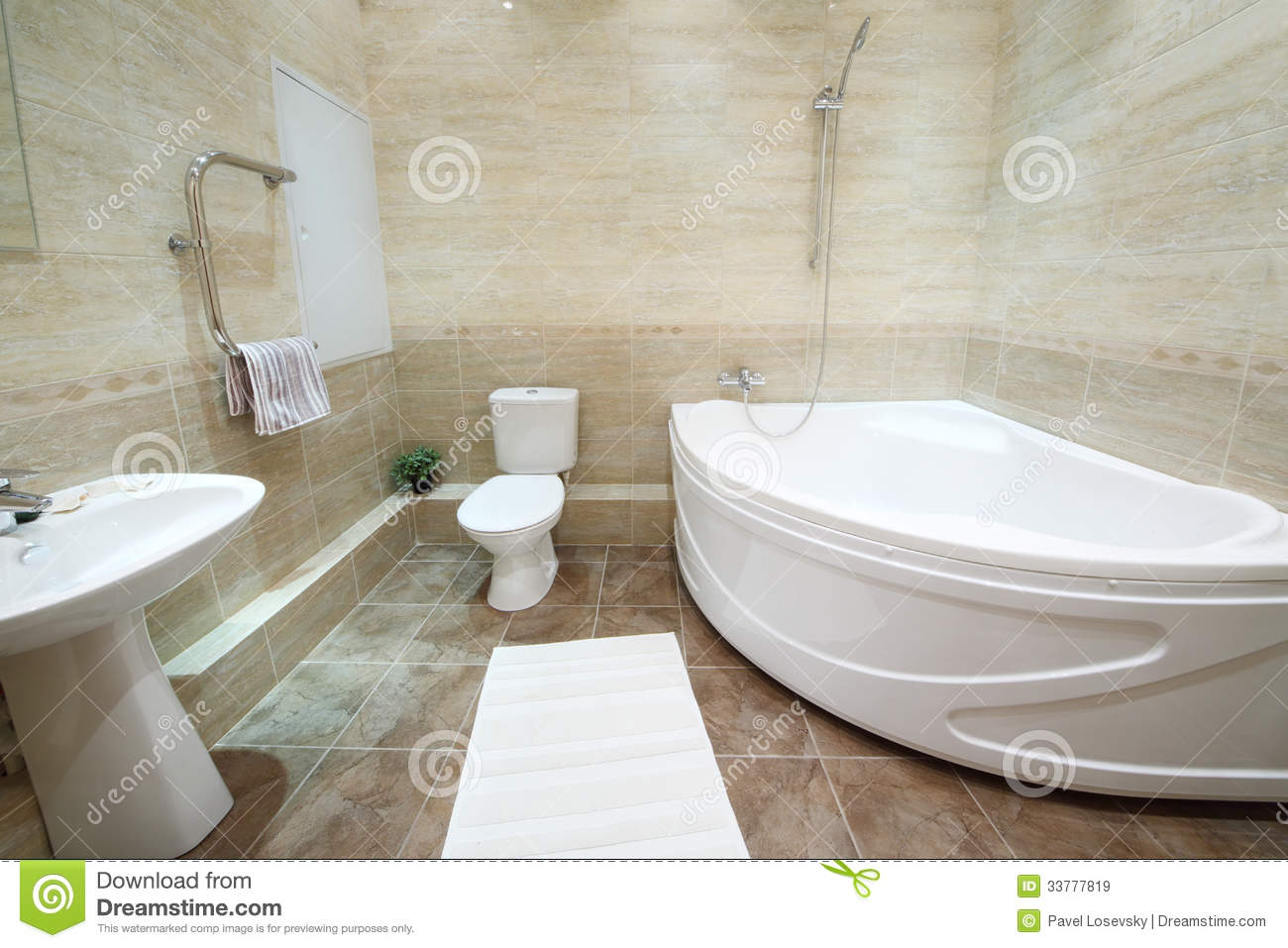 Light And Clean Bathroom With Toilet With Tiles On Floor Stock Image - Cleaning bathroom walls