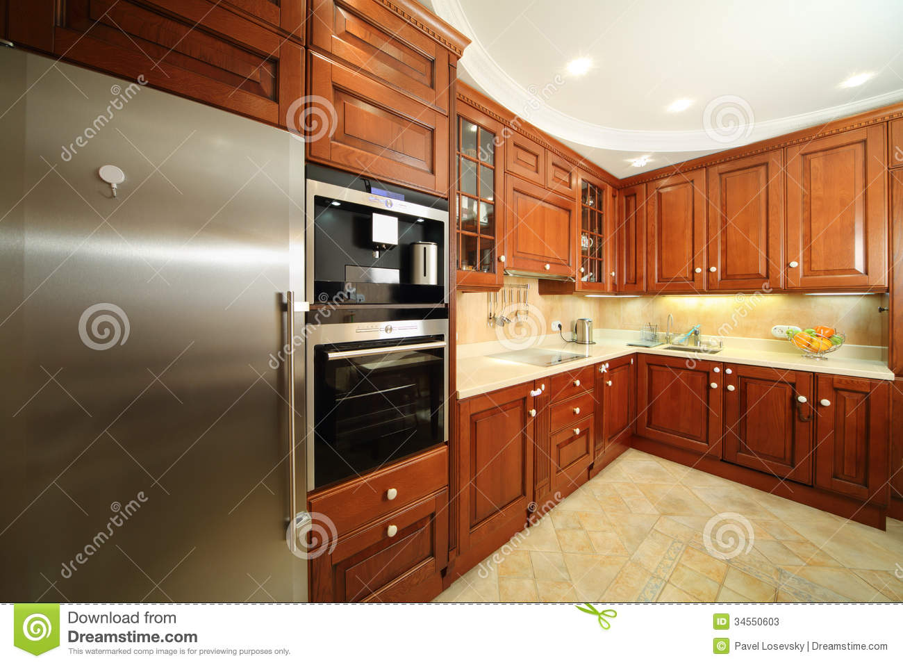 Kitchen Wooden Furniture Light Clean Kitchen With Wooden Furniture Stock Photos Image