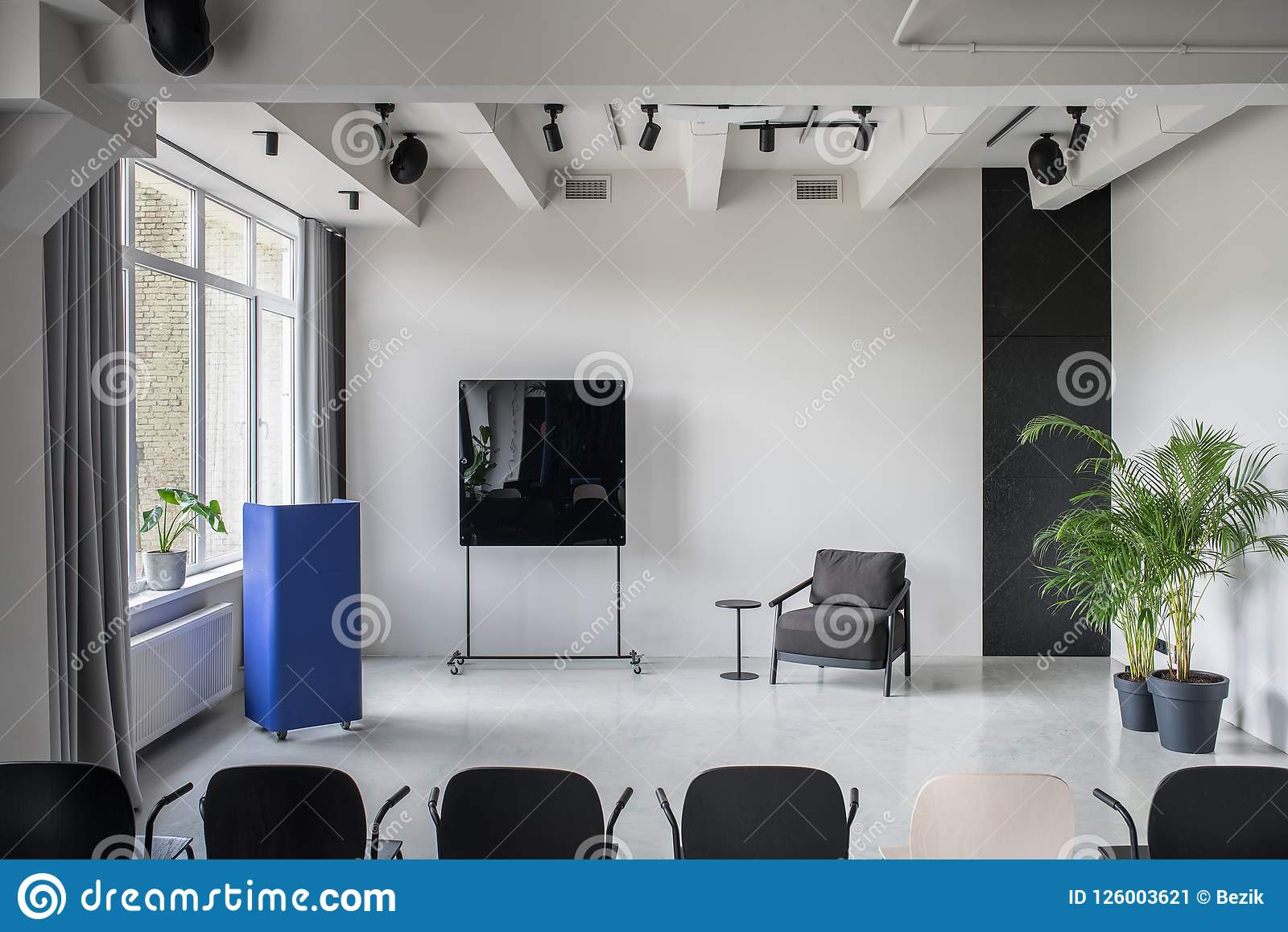 stylish interior in loft style with gray walls stock image image rh dreamstime com