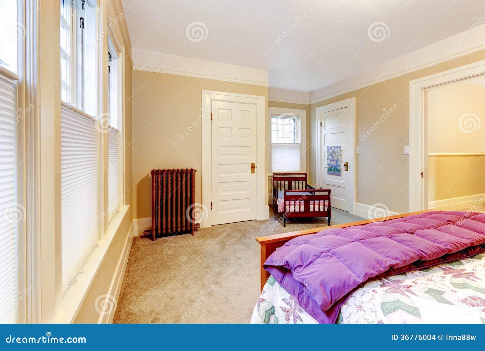 Light Cosy Small Bedroom With Baby Crib. Stock Photo ...
