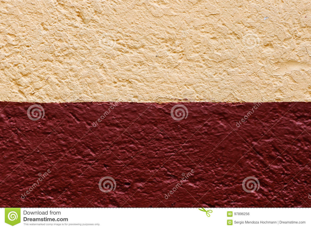 A Light Cream Color And Red Wall Texture Stock Photo - Image of ...