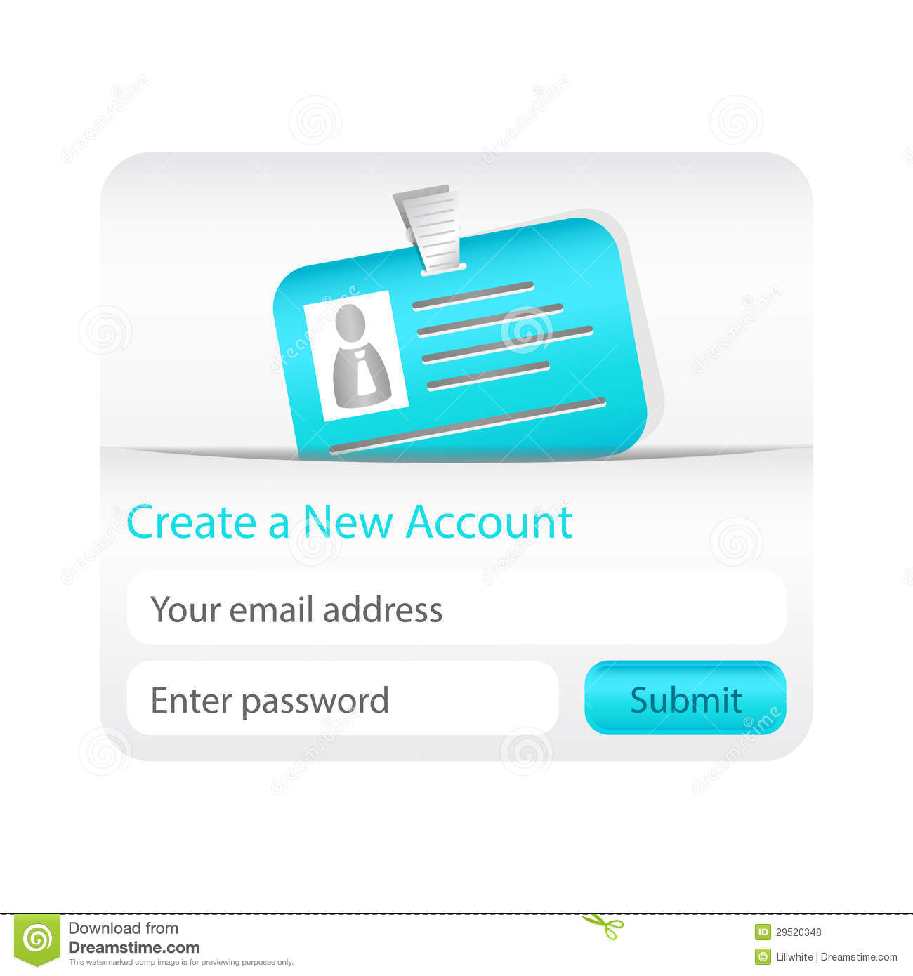 Light create a new account form with light blue id card New website create free online