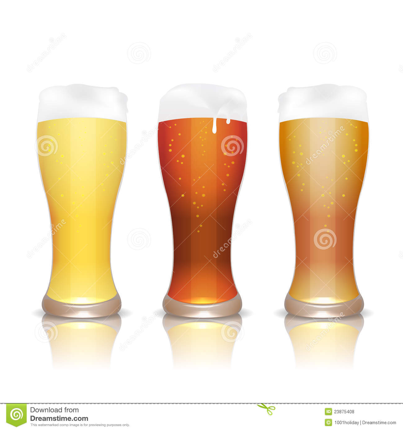 Light, dark and unfiltered beer in glasses