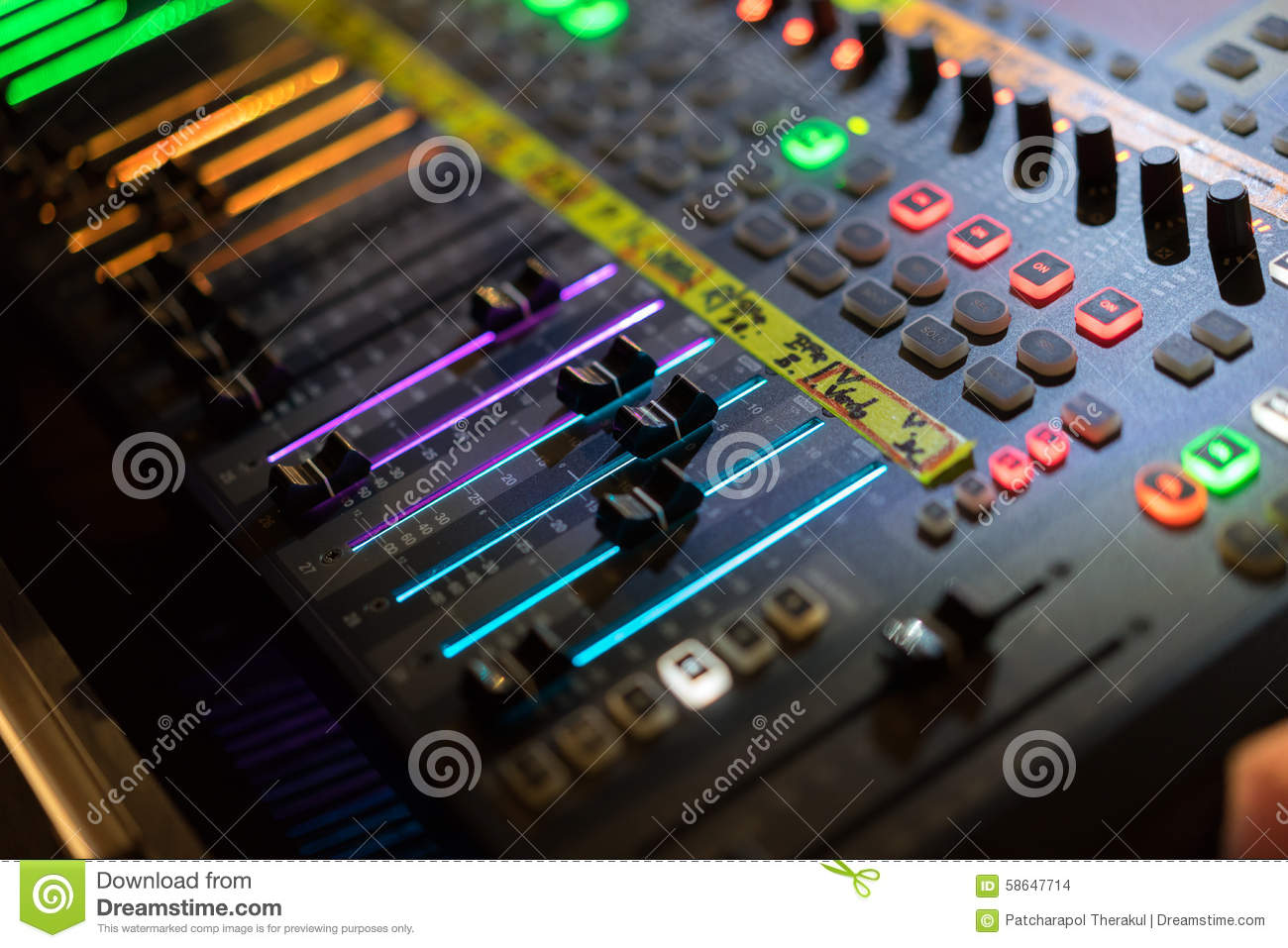light of digital audio mixer fader stock photo image of digital board 58647714. Black Bedroom Furniture Sets. Home Design Ideas