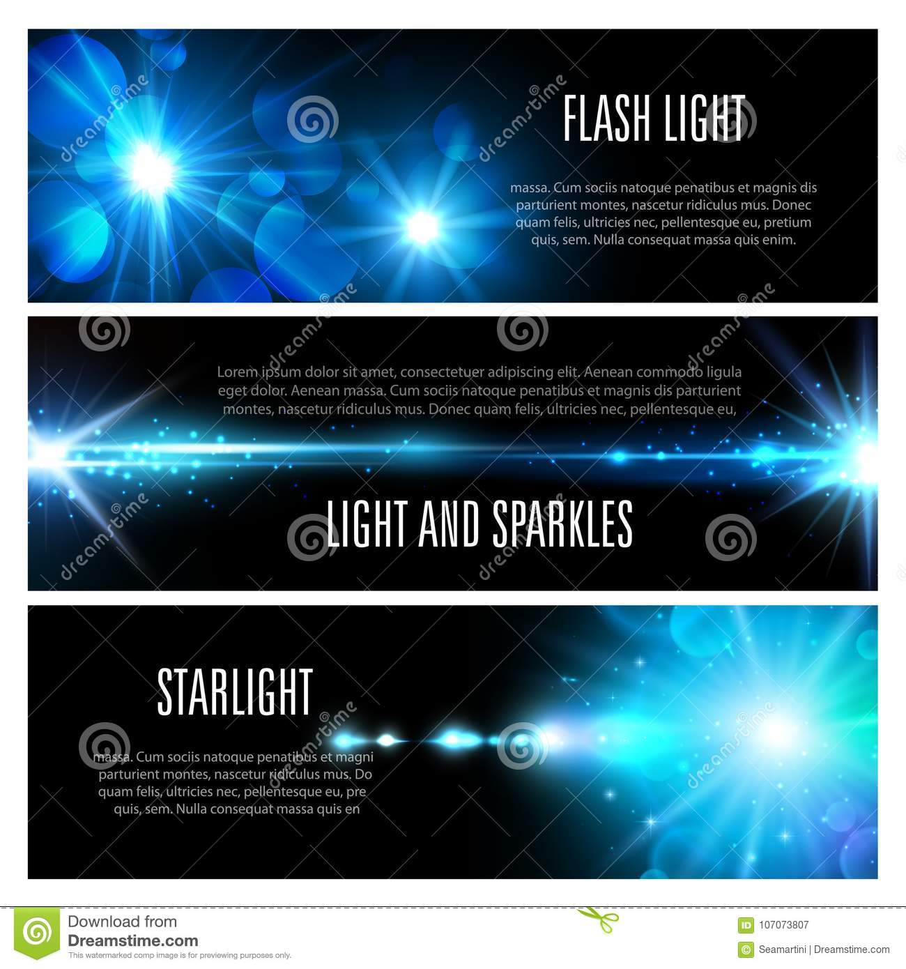 Blue light effect banner set with star shine