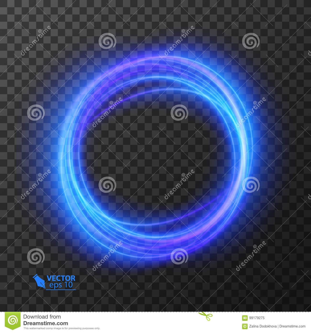 Light effect line gold vector circle. Glowing light fire ring trace. Glitter magic sparkle swirl trail effect on