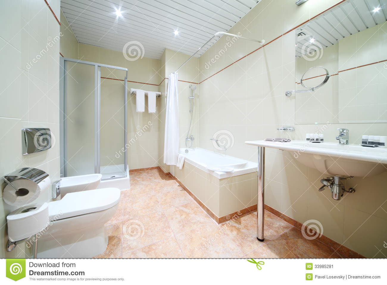 Light And Empty Bathroom With White Bath Toilet Stock