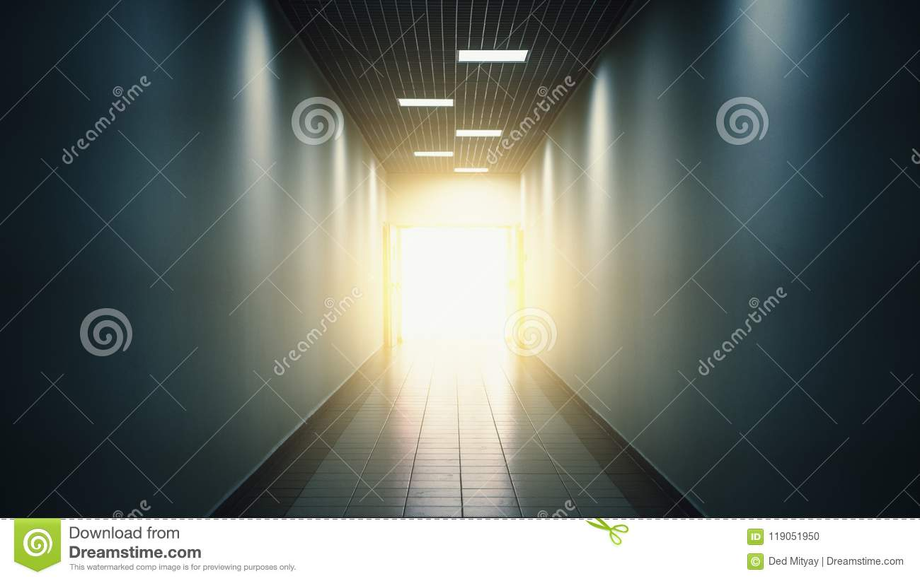 Light at the end of tunnel or corridor, abstract hope and way to freedom concept