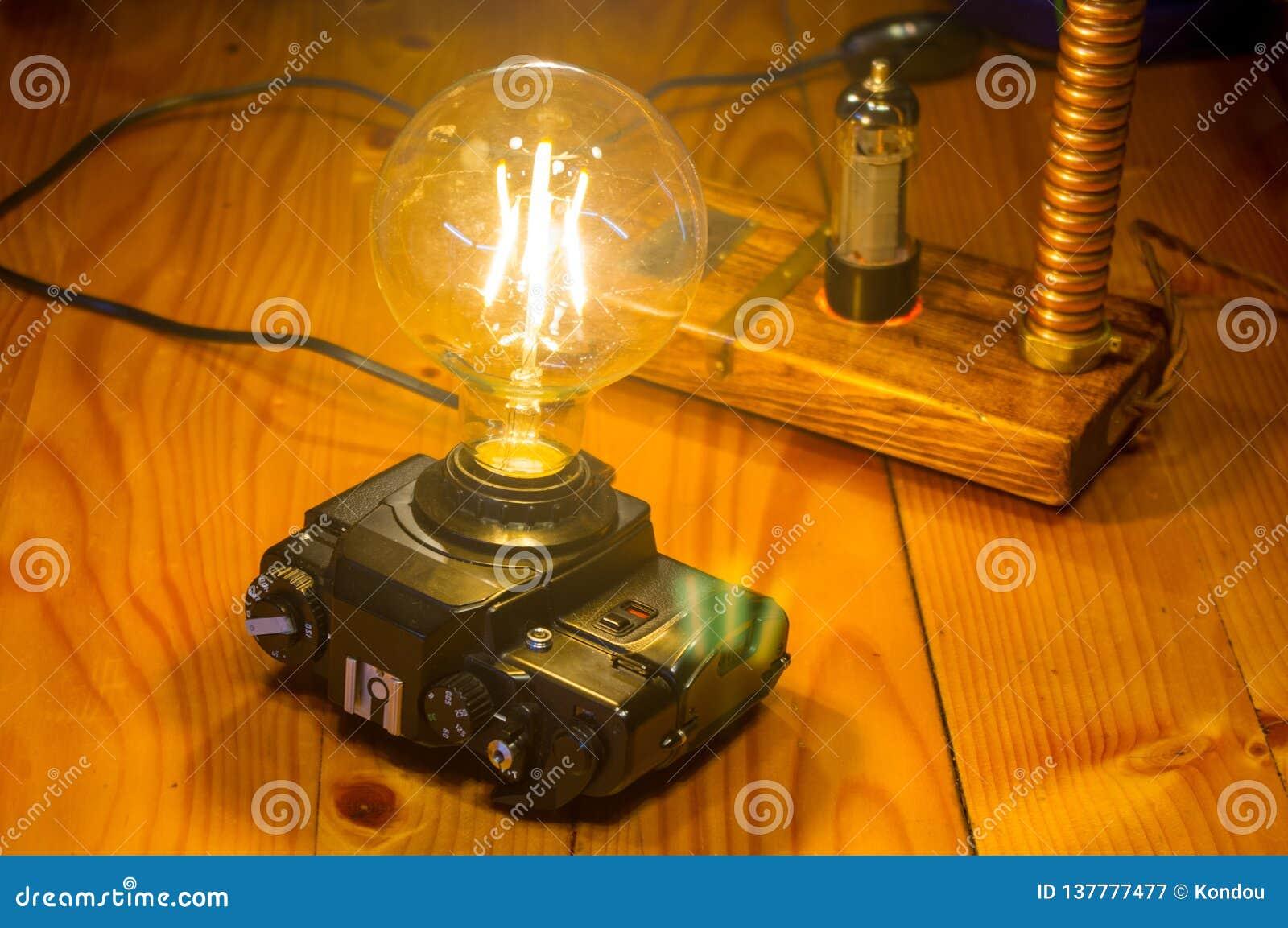 Retro Lampen Led : Light fixture handmade in vintage style led lamp stock image
