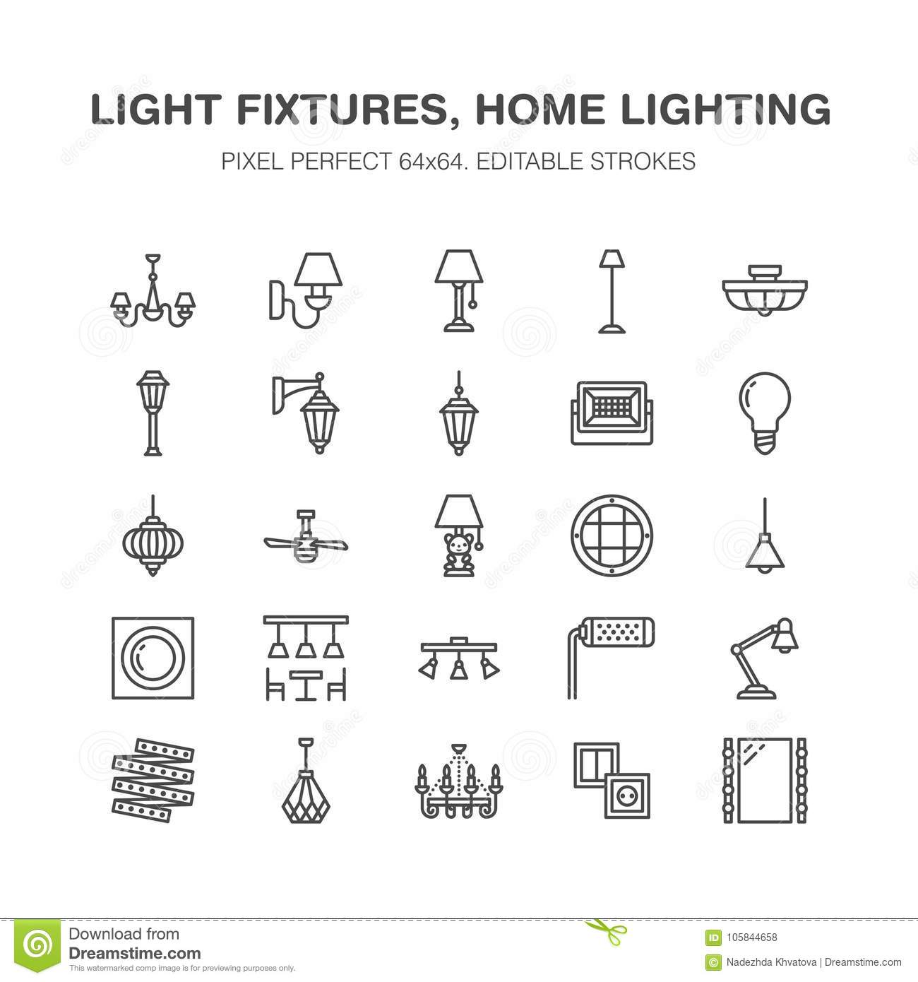 Light Fixture, Lamps Flat Line Icons. Home And Outdoor
