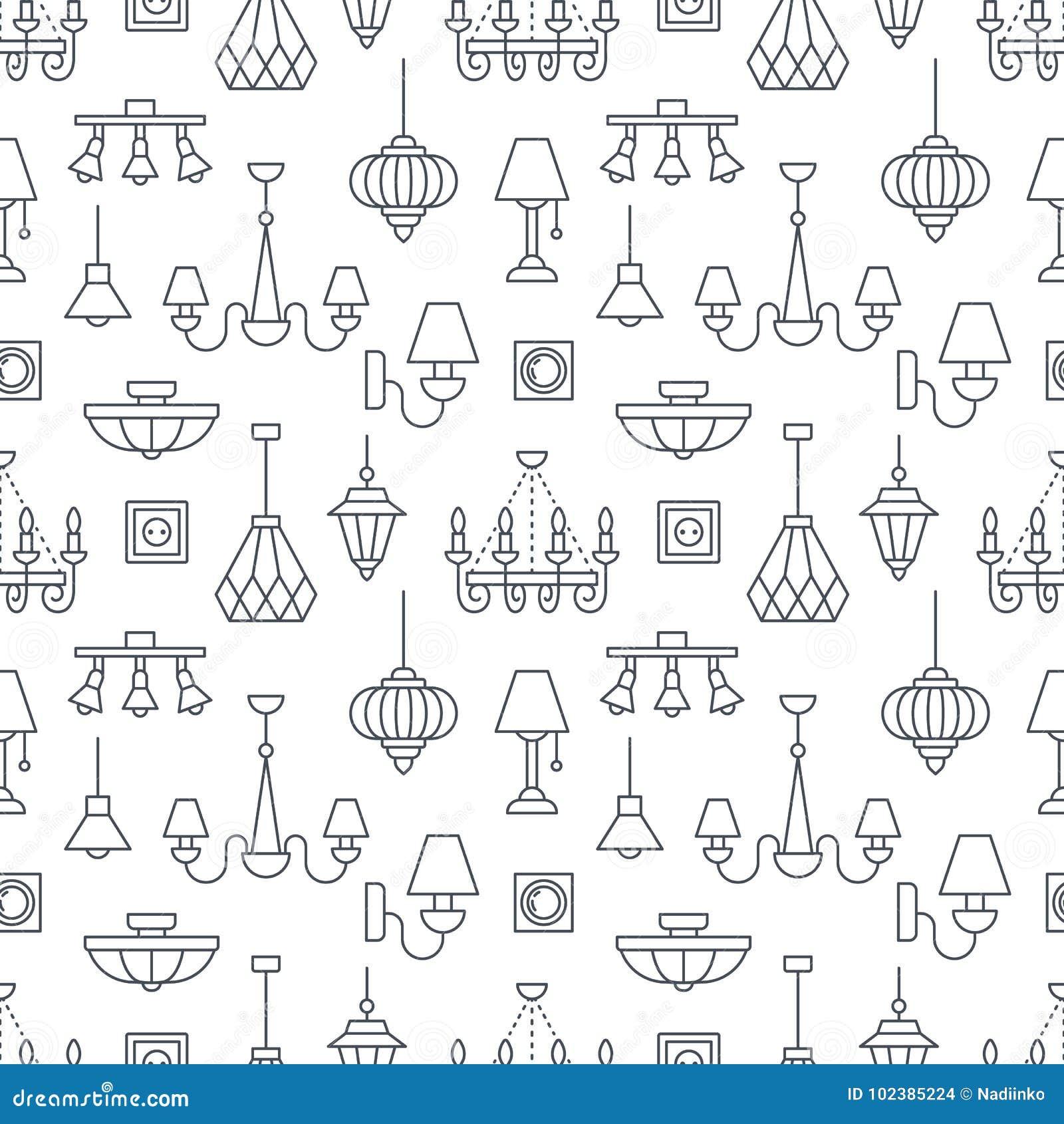 Light Fixture, Lamps Seamless Pattern, Line Illustration