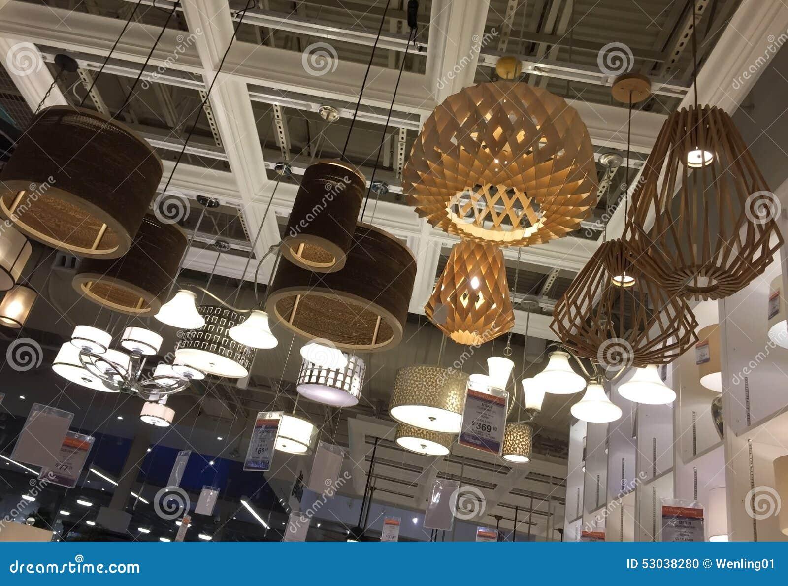 Light fixtures selling at furniture market
