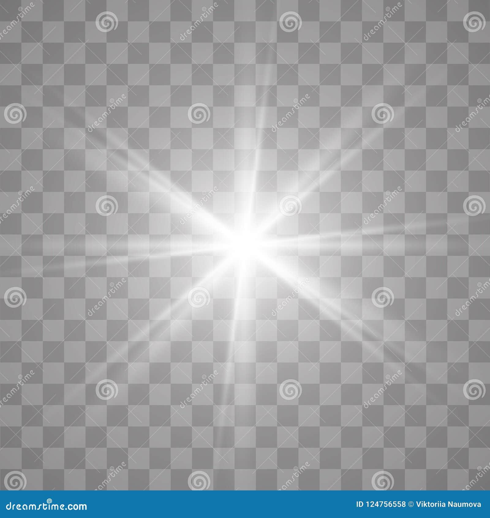 Light flare special effect. Illustration. Vector sparkles on transparent background.Light flare special effect.
