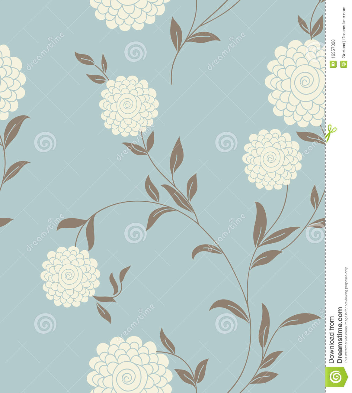 Light Floral Vintage Seamless Pattern Cartoon Plant