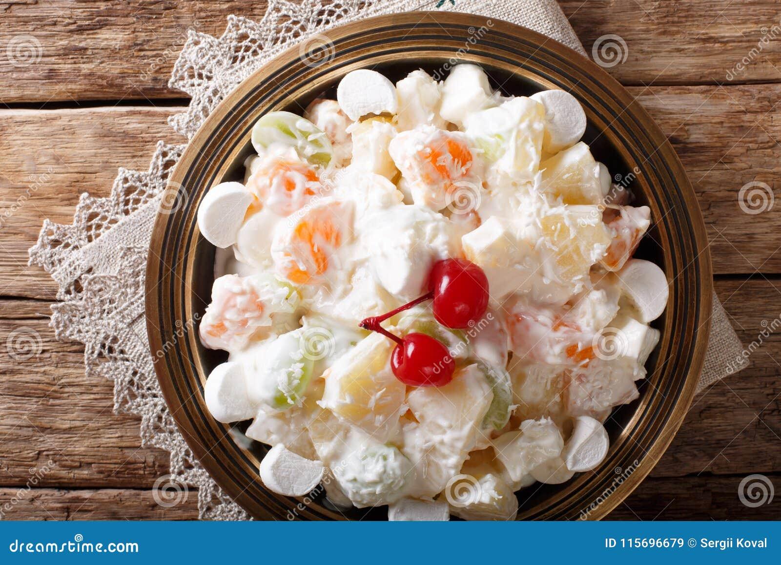 Light Fruit Salad Ambrosia With Marshmallow And Vanilla Yogurt C Stock Image Image Of Food Horizontal 115696679