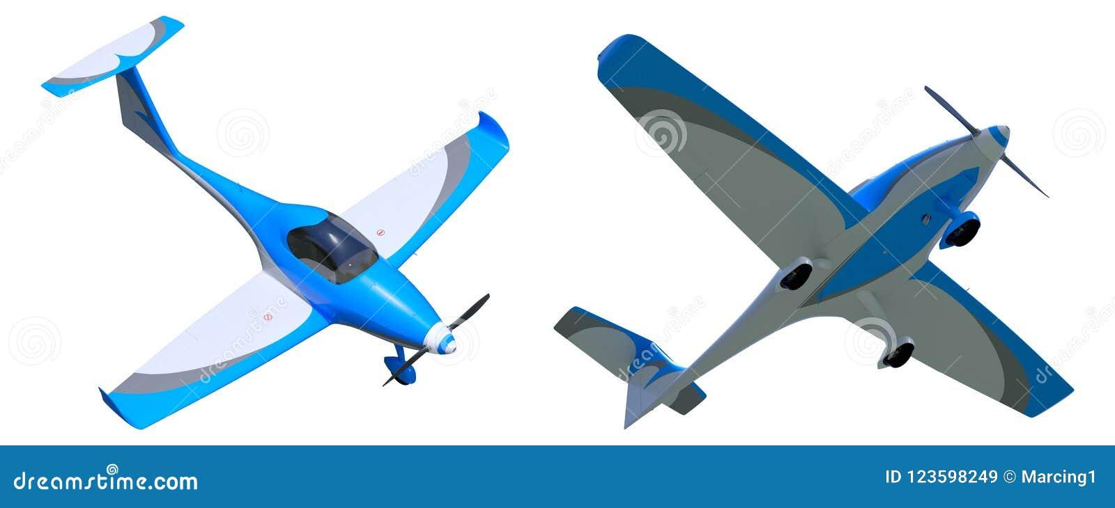 Light General Aviation Aircraft 3d Model Stock Illustration