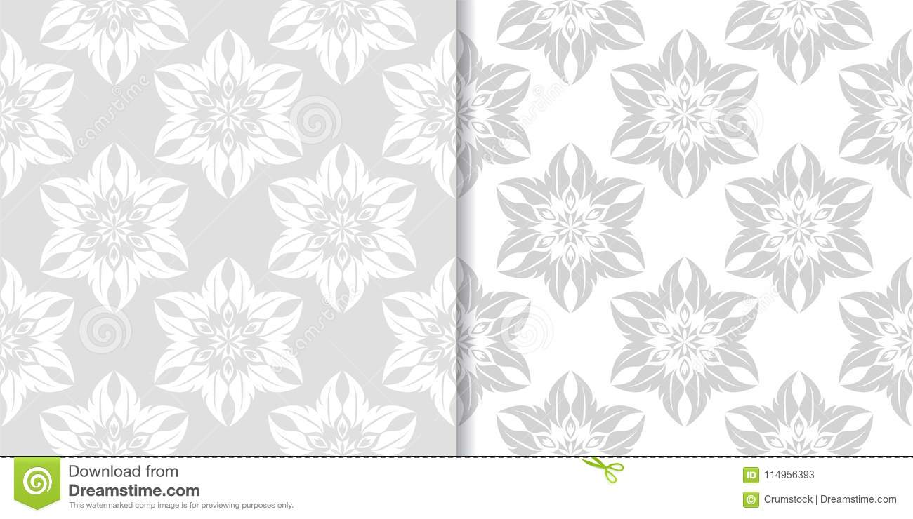 Light Gray Floral Backgrounds Set Of Seamless Patterns