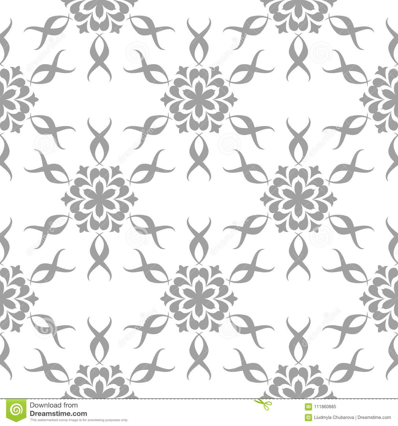 Gray Floral Pattern On White Seamless Background Stock