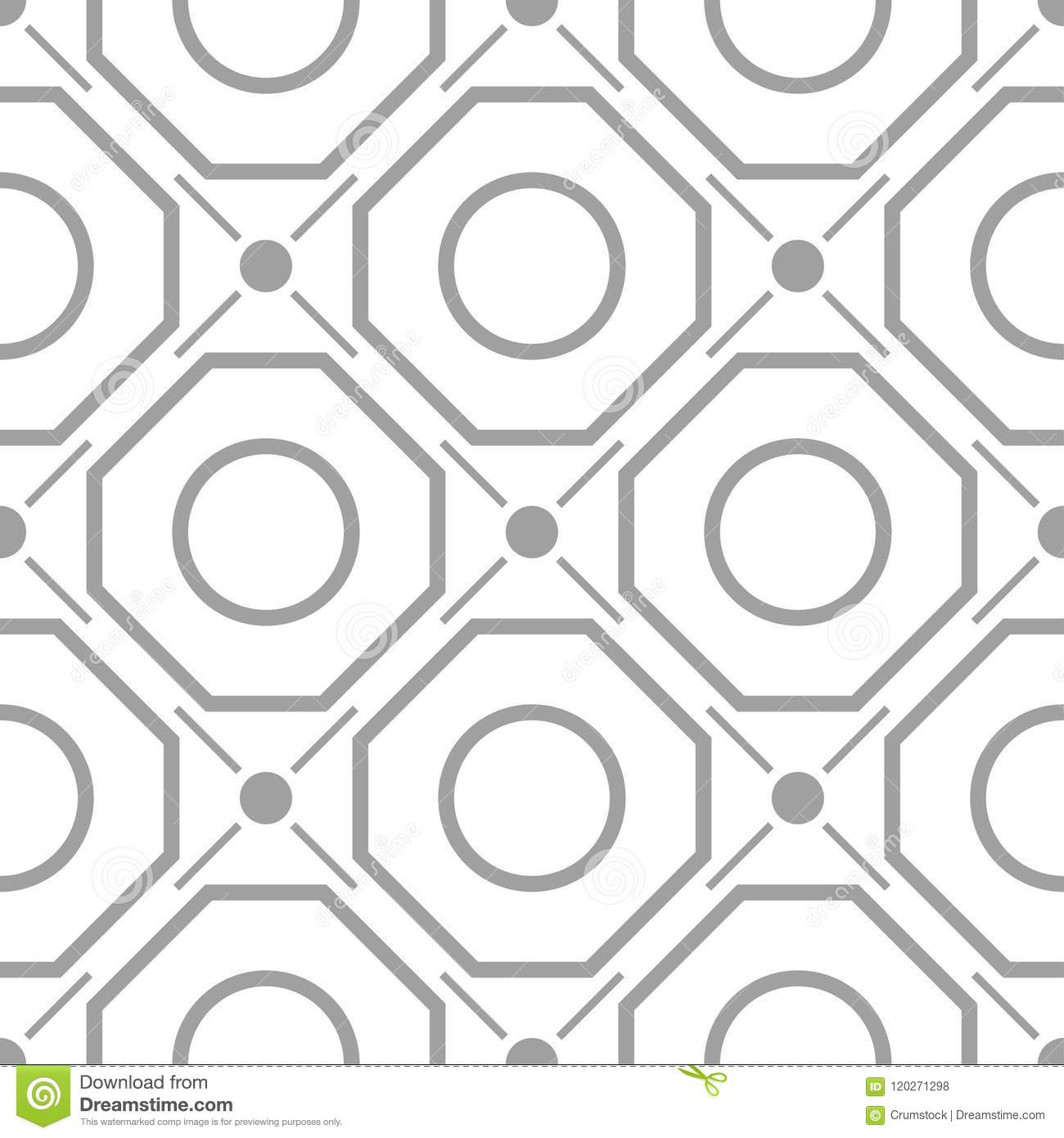 Light gray geometric ornament. Seamless pattern