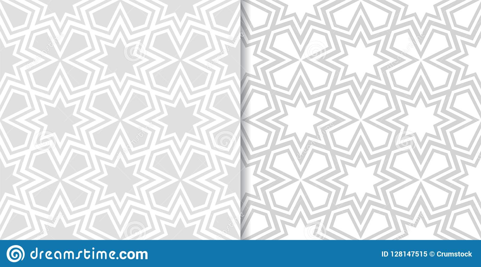 Light gray geometric prints. Set of seamless patterns
