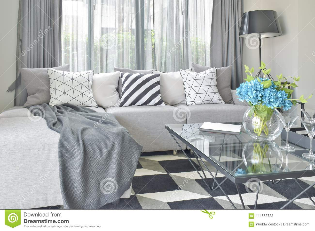 Light Gray L Shape Sofa Set With Varies Pattern And Color