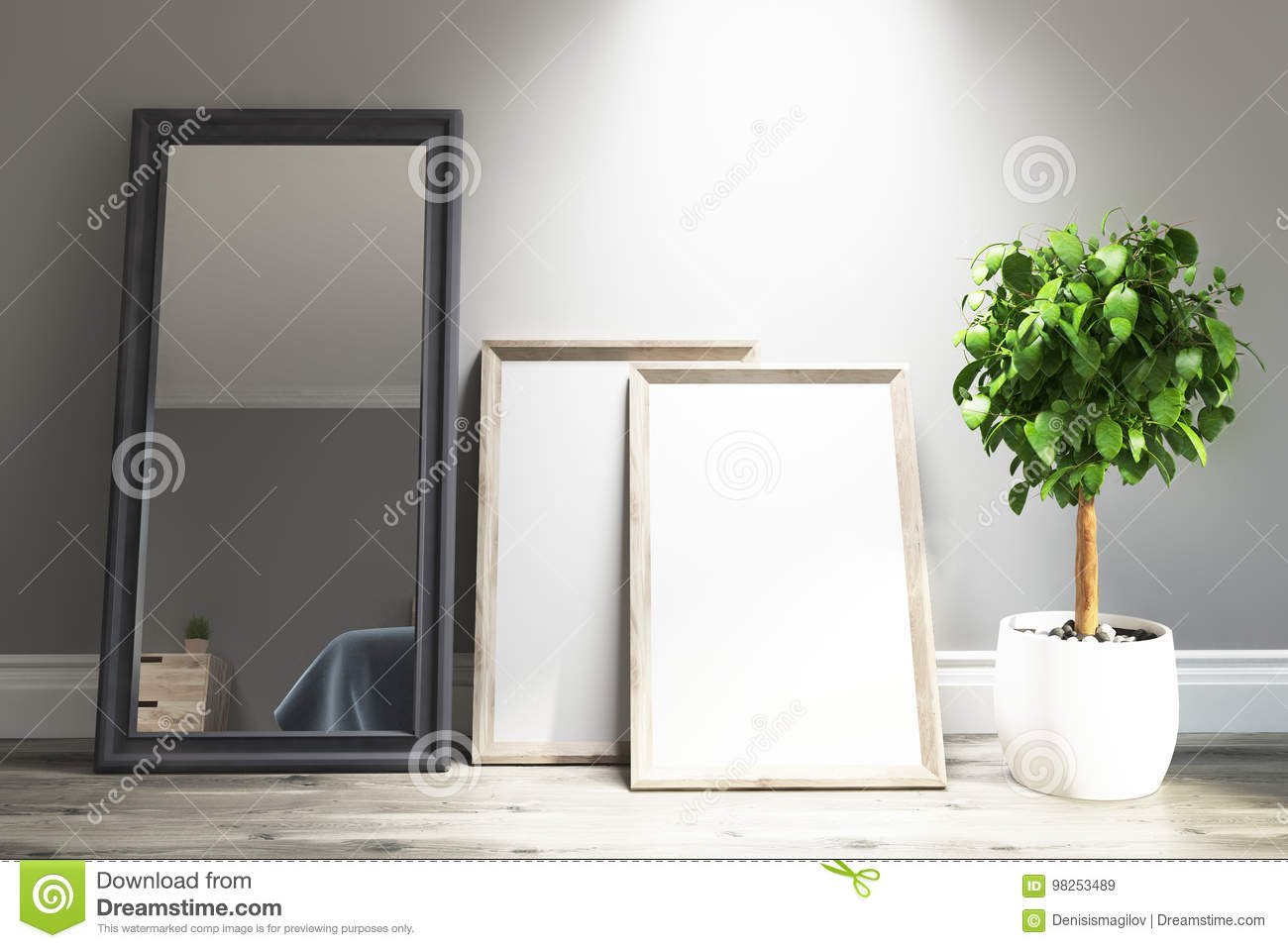 Light Gray Living Room Interior, Mirror, Posters Stock Illustration ...