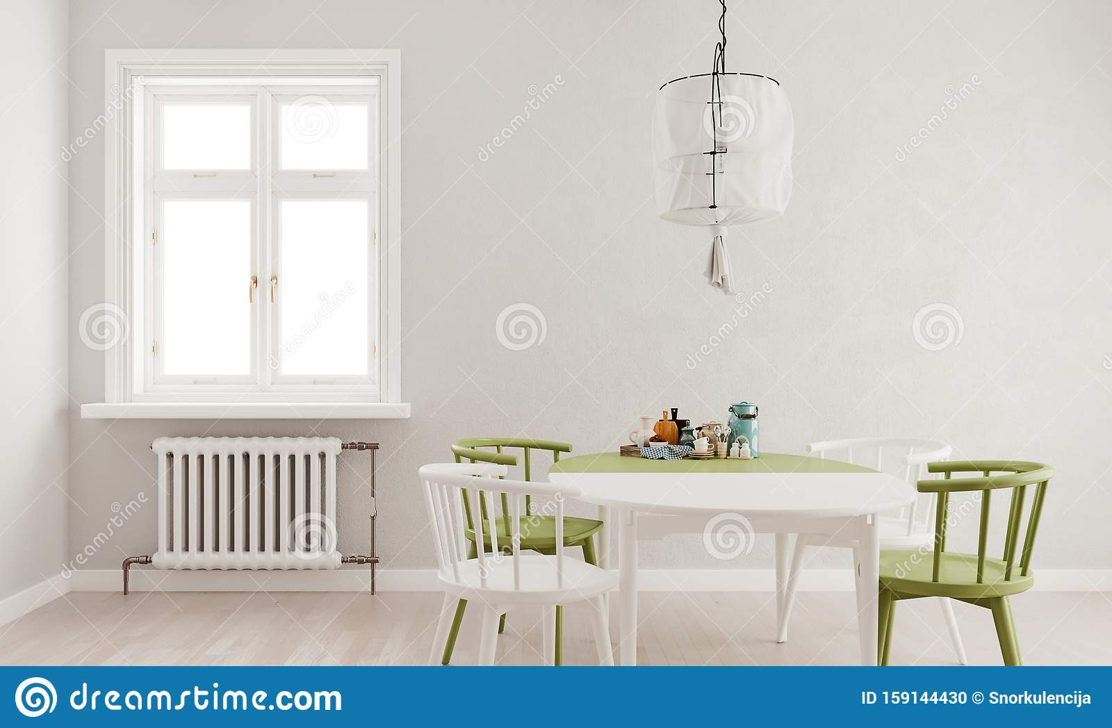 Picture of: Light Gray Mock Up Wall Green White Dining Table And Chairs With Large Window And Radiator Scandinavian Style Stock Illustration Illustration Of Indoor Apartment 159144430