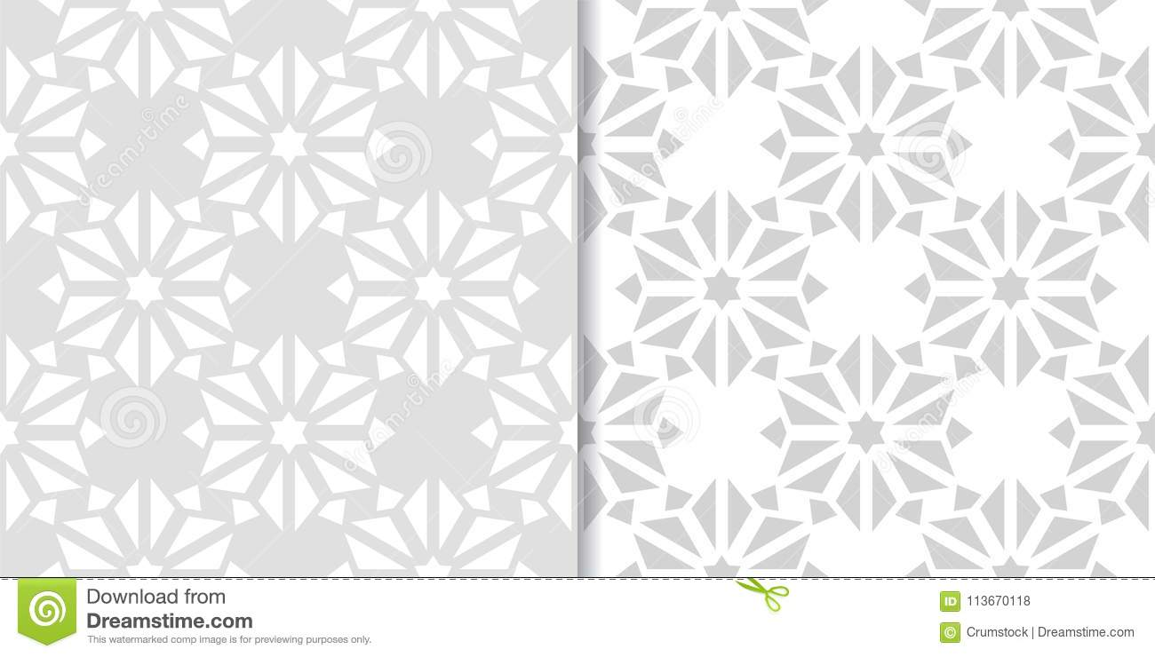 Light gray set of floral seamless patterns