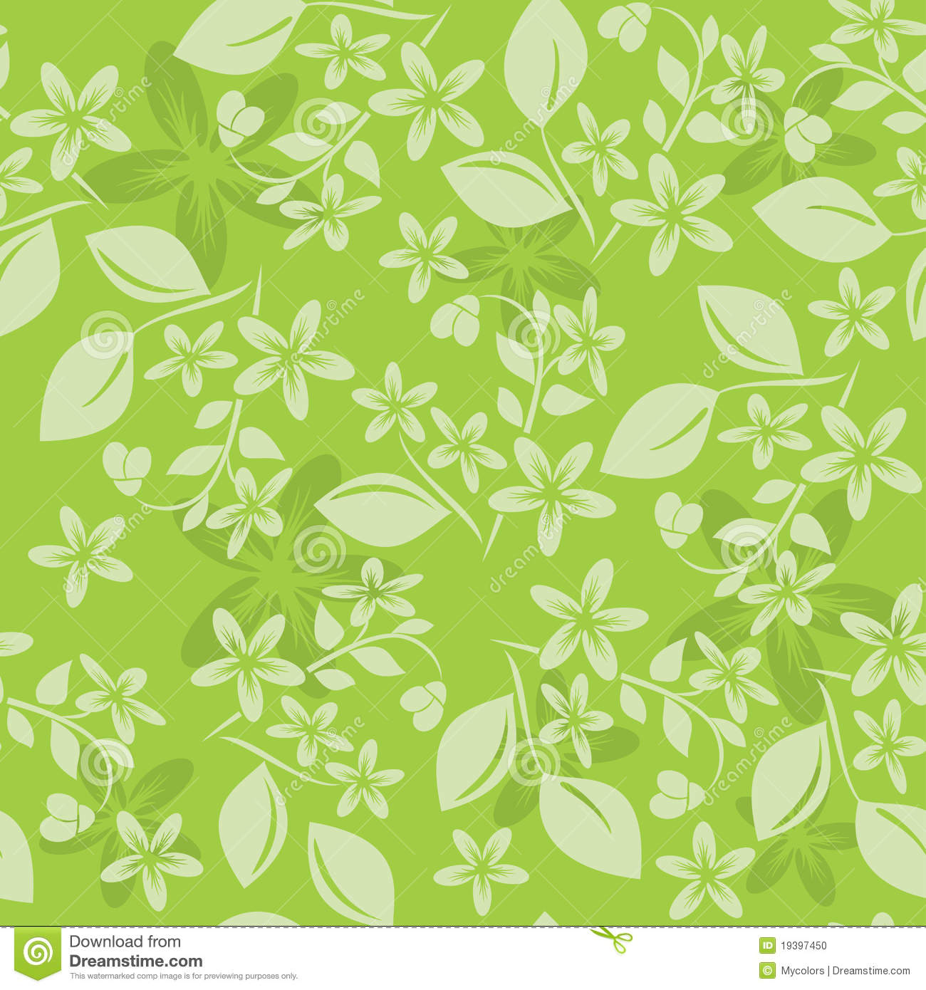 Light Green Floral Pattern - Vector Stock Vector - Image ...