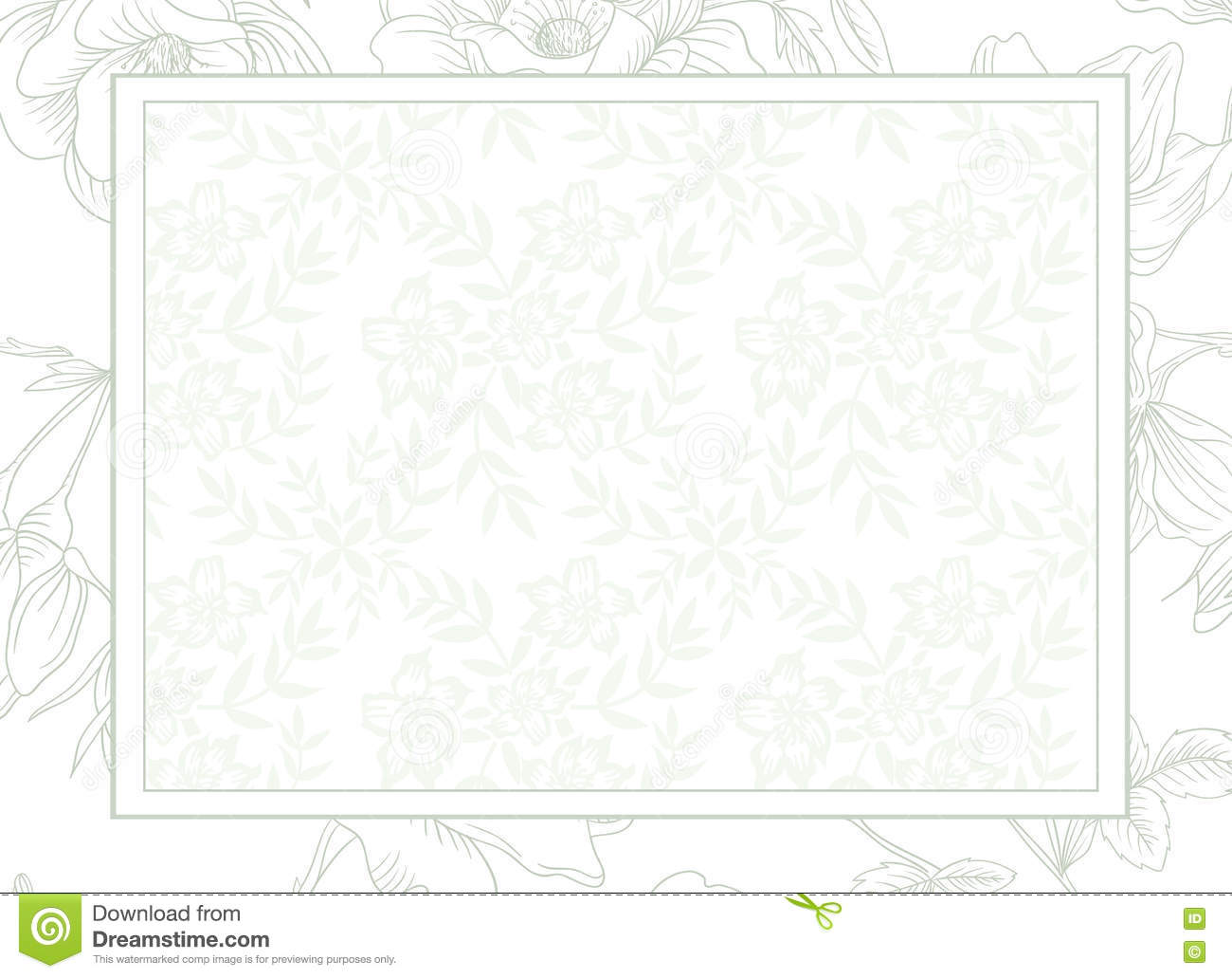 Light Green Flower Background Wedding Invitation Card Template Stock