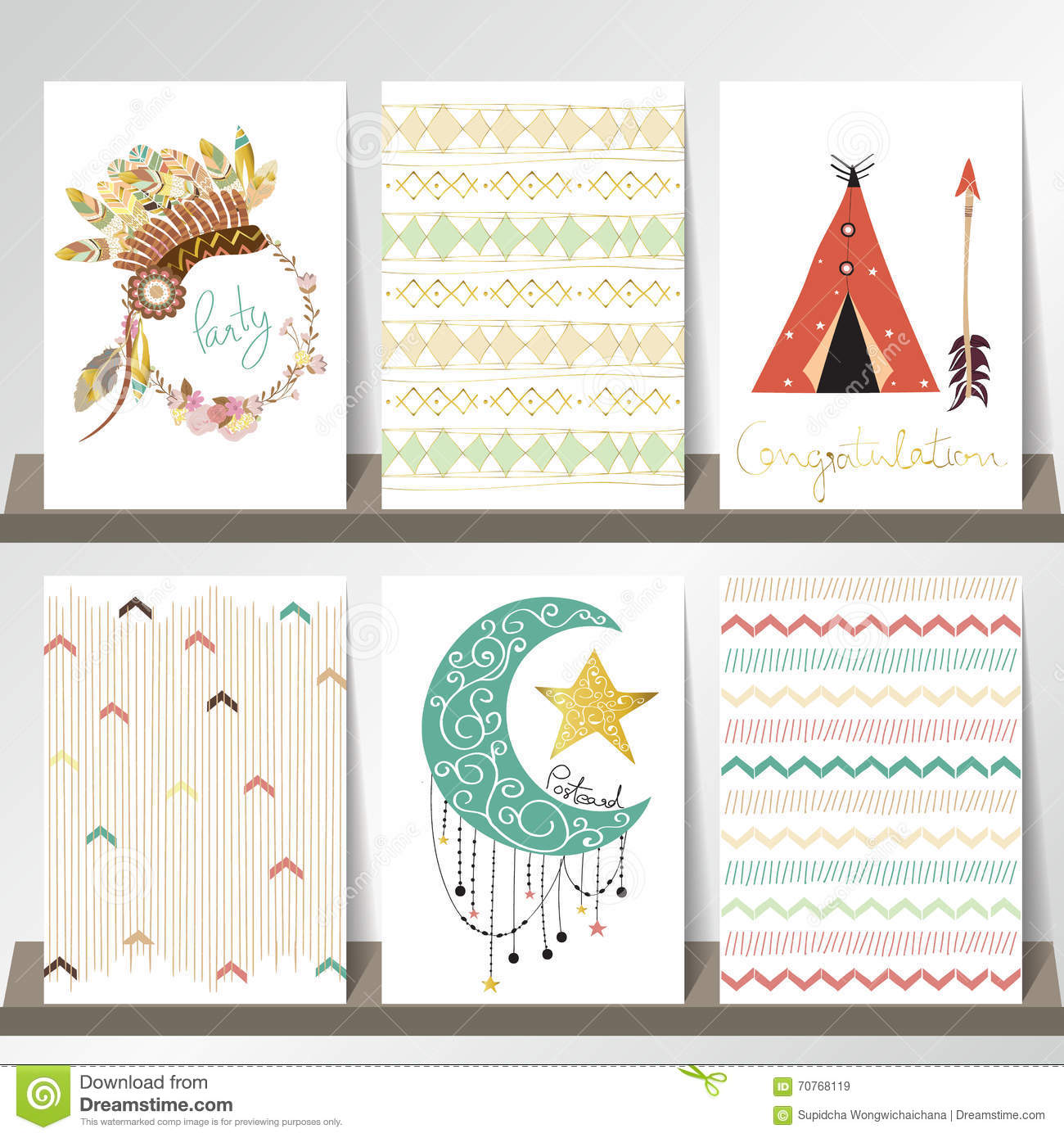 Light green gold pink card template in boho style on summer stock light green gold pink card template in boho style on summer maxwellsz