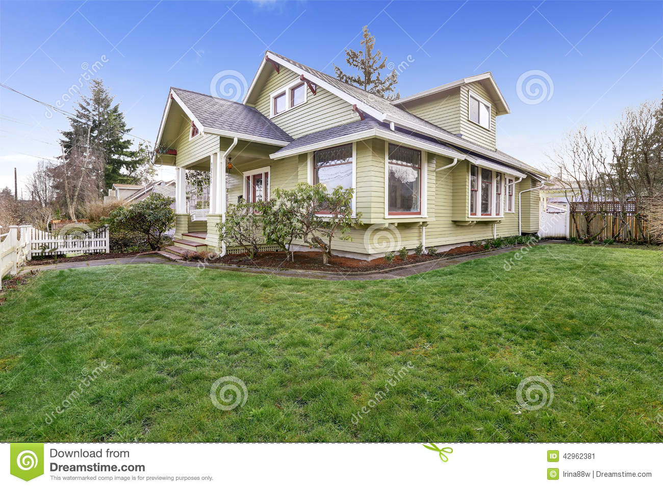 Light Green House Exterior With Column Porch Stock Image