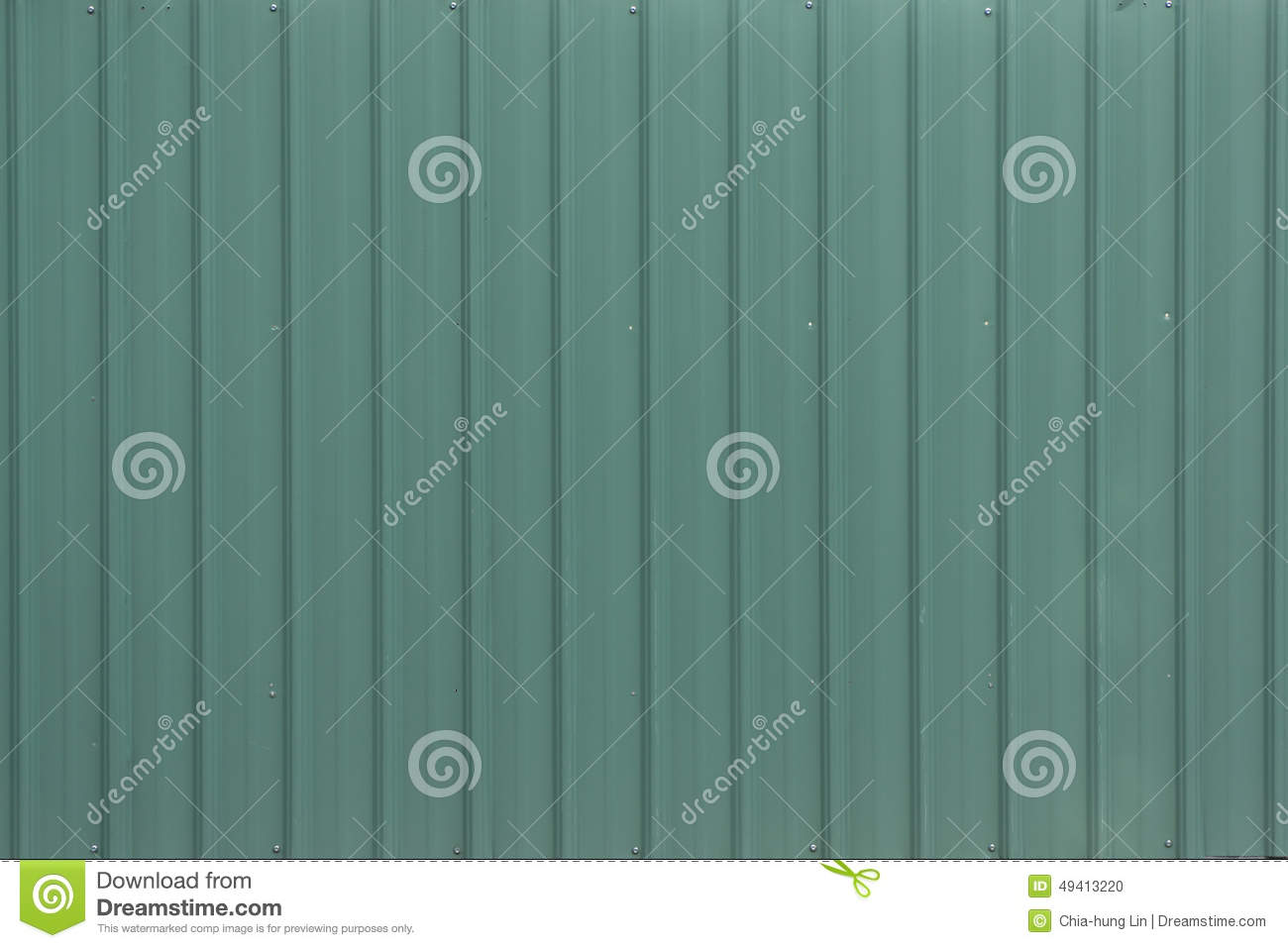 A Light Green Metal Corrugated Sheet Stock Photo Image