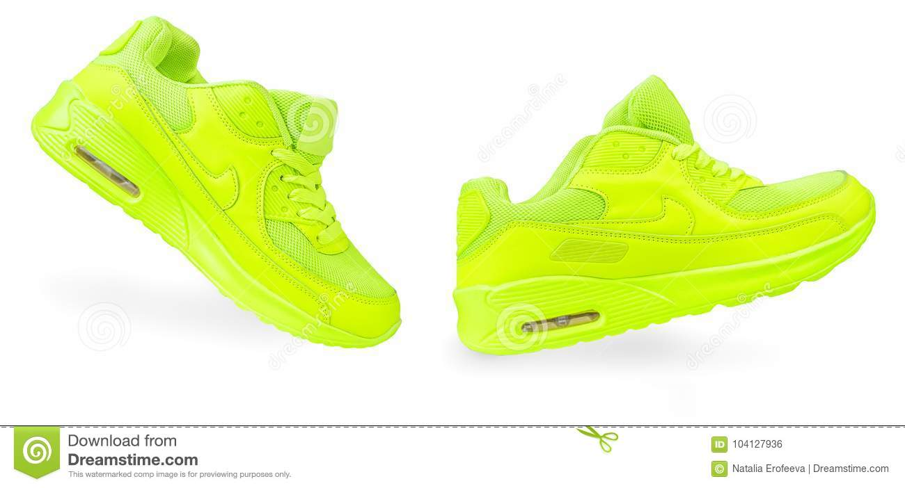 Light Green Sneakers Isolated White
