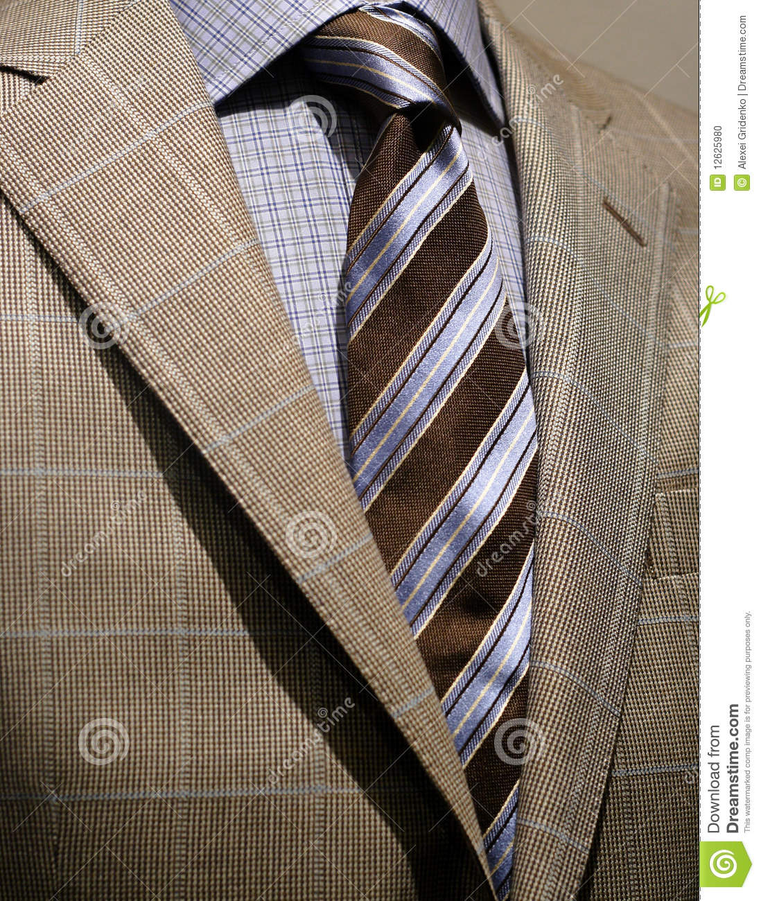 Light grey checkered jacket blue shirt and tie stock for Striped shirt with tie