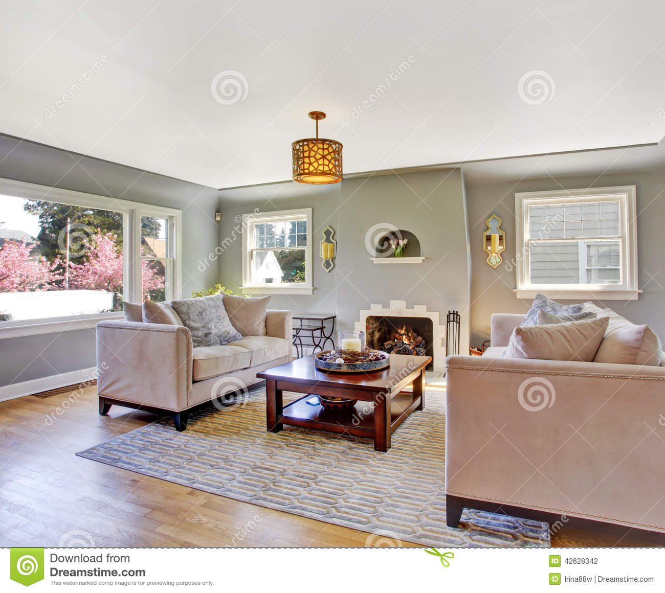 Light Grey Living Room With White Sofas And Fireplace Stock Photo Image 42628342