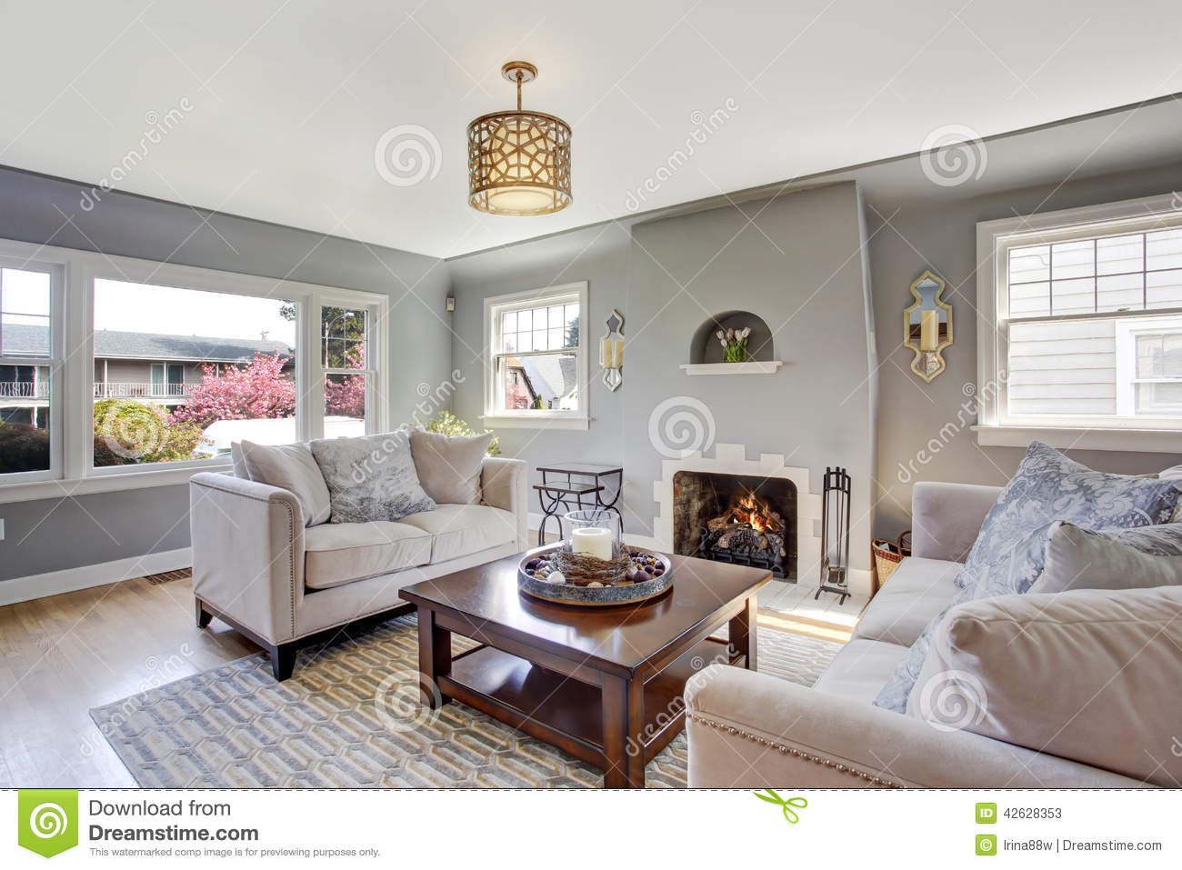 Light grey living room with white sofas and fireplace - White wooden living room furniture ...